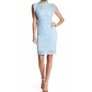 Alexa Admor Blue Lace Cape Sleeve Sheath Dress